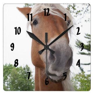 Cute Belgian Draft Horse Face Animal Square Wall Clock