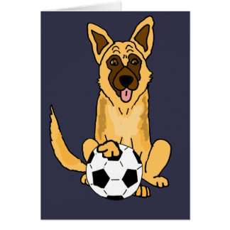 Cute Belgian Malinois Dog Playing Soccer Cartoon Card