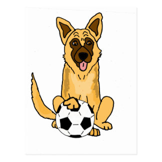 Cute Belgian Malinois Dog Playing Soccer Cartoon Postcard