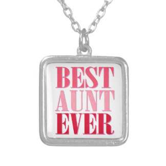 Cute Best Aunt Ever Pink Text Square Pendant Necklace
