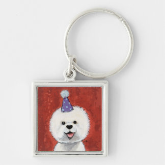 Cute Bichon Frise Party Dog Illustration Key Ring