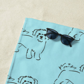 Cute Bichon Frise Sketch with Your Name Beach Towel