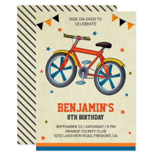 Kids birthday invitations zazzle cute bicycle kids birthday party invitation filmwisefo