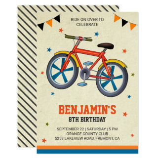 Cute Bicycle Kids Birthday Party Invitation