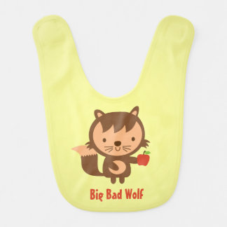 Cute Big Bad Wolf with Apple for Kids Baby Bibs