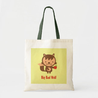 Cute Big Bad Wolf with Apple for Kids Budget Tote Bag