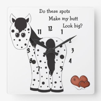 Cute Big Butt Appy Leopard Appaloosa Horse Square Wall Clock
