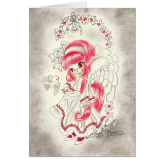 Cute Big Eye Angel With Red Hair And Holly Note Card