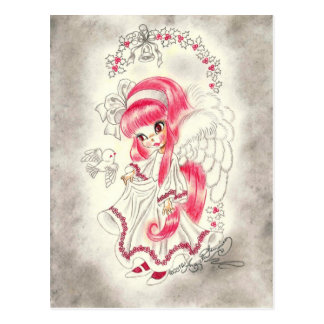 Cute Big Eye Angel With Red Hair And Holly Postcard