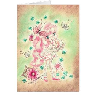 Cute Big Eye Girl with Pink hair & Butterflies Greeting Card