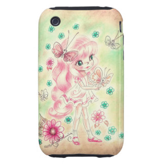 Cute Big Eye Girl with Pink hair & Butterflies Tough iPhone 3 Cover