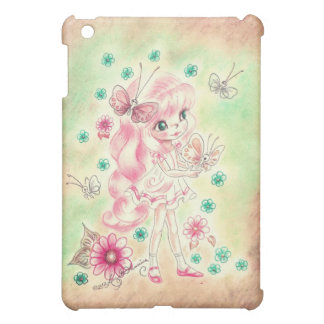 Cute Big Eye Girl with Pink hair Butterflies Cover For The iPad Mini