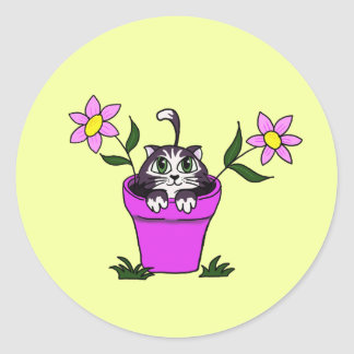 Cute Big Eyed Cartoon Cat in Flower Pot Classic Round Sticker