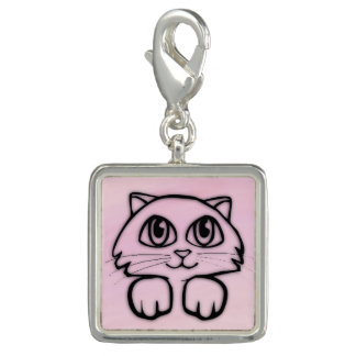 Cute  Big Eyed Cat Peeking Pink
