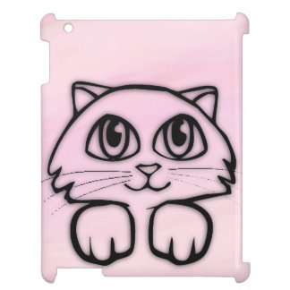 Cute  Big Eyed Cat Peeking Pink Cover For The iPad 2 3 4