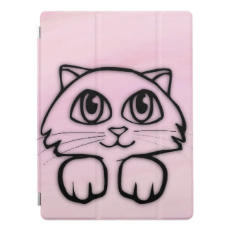 Cute  Big Eyed Cat Peeking Pink iPad Pro Cover