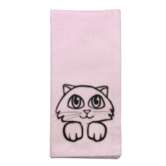 Cute  Big Eyed Cat Peeking Pink Napkin