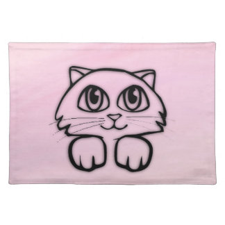 Cute  Big Eyed Cat Peeking Pink Placemat