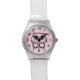 Cute  Big Eyed Cat Peeking Pink Watch