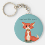 Cute Big Eyed Fox Eating A Cookie Basic Round Button Key Ring