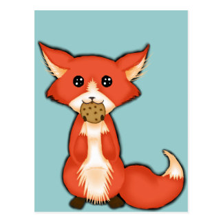 Cute Big Eyed Fox Eating A Cookie Postcard