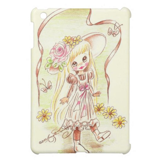 Cute Big Eyed Girl In Bonnet With Flowers iPad Mini Cover