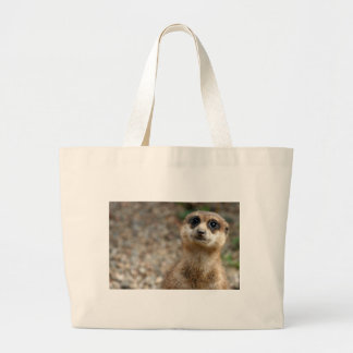Cute Big-Eyed Meerkat Large Tote Bag