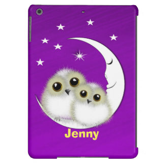 Cute Big Eyed Mother Baby Owls Personalized Cover For iPad Air