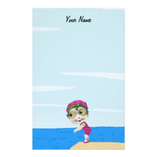 Cute Big Eyes Swimmer Girl Pink Polka Dots Stationery
