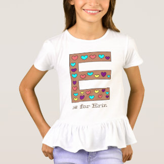Cute Big Letter E Design Personalized Girl's Name T-Shirt