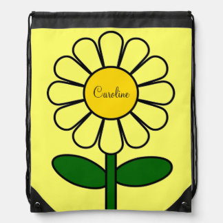 Cute Big Yellow Daisy Flower Optional Custom Name Drawstring Bag