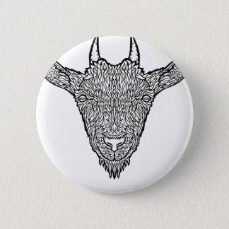 Cute Billy Goat Face Intricate Tattoo Art 6 Cm Round Badge
