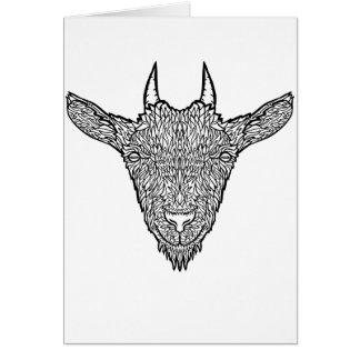Cute Billy Goat Face Intricate Tattoo Art Card