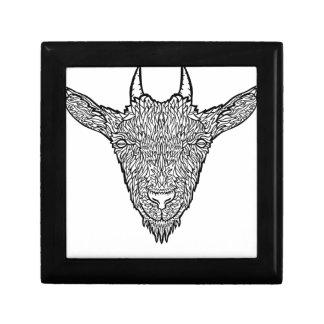 Cute Billy Goat Face Intricate Tattoo Art Gift Box