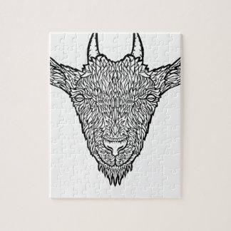 Cute Billy Goat Face Intricate Tattoo Art Jigsaw Puzzle