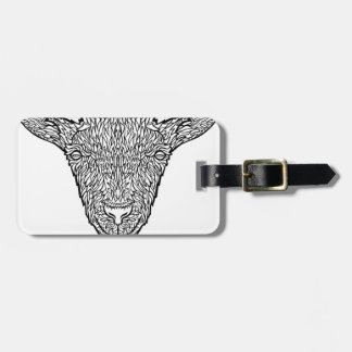 Cute Billy Goat Face Intricate Tattoo Art Luggage Tag