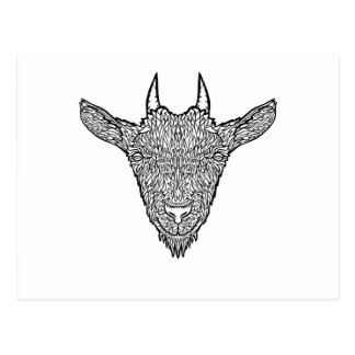 Cute Billy Goat Face Intricate Tattoo Art Postcard