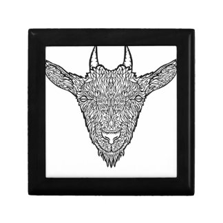 Cute Billy Goat Face Intricate Tattoo Art Small Square Gift Box