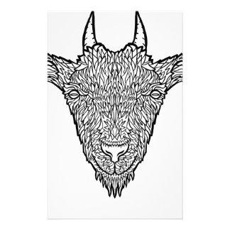 Cute Billy Goat Face Intricate Tattoo Art Stationery