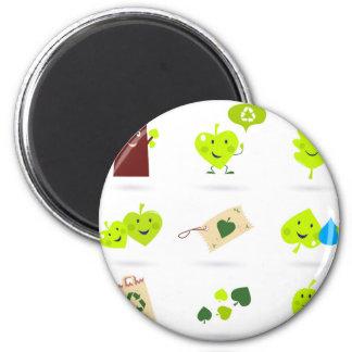 Cute bio kids icons green magnet