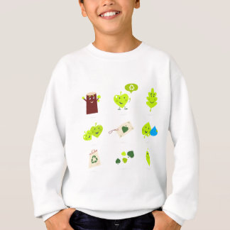 Cute bio kids icons green sweatshirt