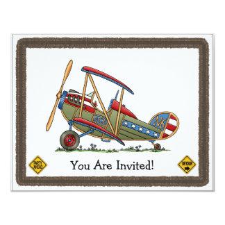 Cute Biplane 11 Cm X 14 Cm Invitation Card
