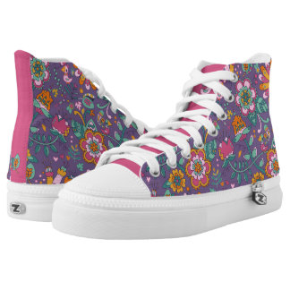 Cute Bird and Floral Purple Pattern Shoes