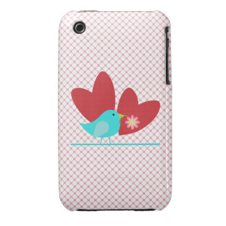 Cute Bird and Hearts iPhone 3 Case-Mate Case