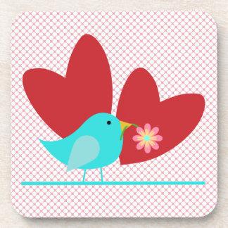 Cute Bird and Hearts Coaster