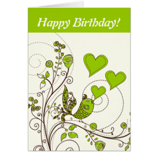 Cute bird and hearts floral green, brown custom card
