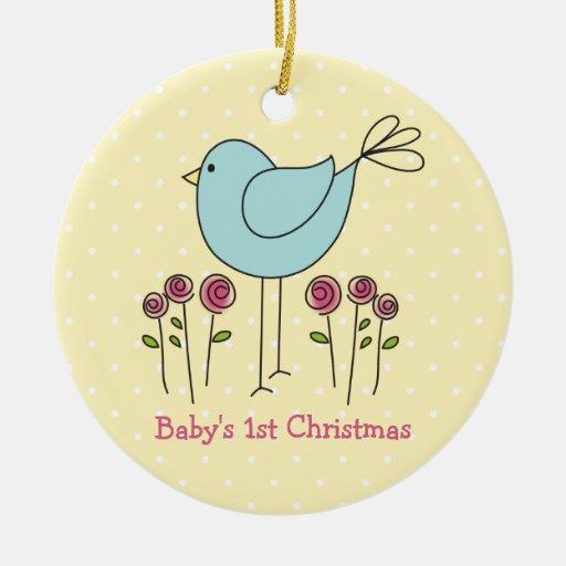 Cute Bird Baby's First Christmas Ornament