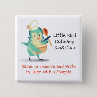 Cute bird chef kids bakery cooking class name tag 15 cm square badge