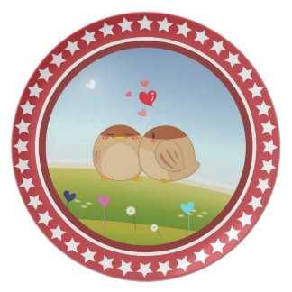 Cute Bird Couple Full of Love Heart Party Plate