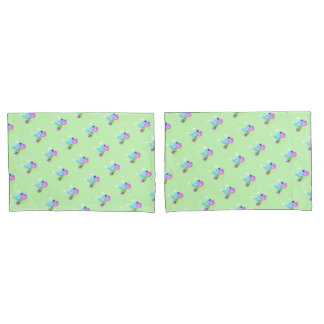 Cute Bird family mint green pillowcase